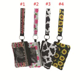 $enCountryForm.capitalKeyWord Australia - New Sunflower Leopard Cow Flower printed MultiFunction Neoprene Passport Cover ID Card Holder Wristlets Clutch Coin Wallet with keychain