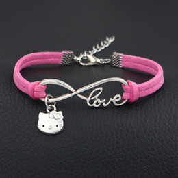 vintage cat charm bracelet Canada - Vintage Silver Infinity Love Lovely Cat Pendant Bracelets for Women Men Bohemian Dark Pink Color Leather Suede Velvet Rope Statement Jewelry