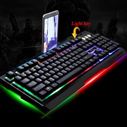 wired usb mouse NZ - G700 Game Luminous Wired USB Mouse Adjustable DPI With Keyboard Rainbow Backlight LED Lights Mechanical Keyboard Gaming Mouse