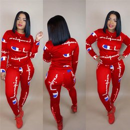Wholesale Women Champion Letter Tracksuit Long Sleeve T Shirt Hoodie Top Pants Leggings Set hoodie Outfits Sportswear sweater Suit S XL best