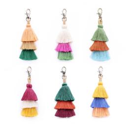 $enCountryForm.capitalKeyWord NZ - 2019Fashion Colorful Tassels Keychains for Women Bag Decorative Pendant Key Ring Bohemian Handmade Charm Handbag Key Accessories