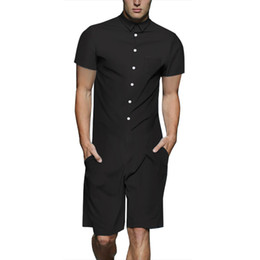 58c36ff7ea4 Men Rompers Fashion Solid Color Patchwork Jumpsuit Summer Hoiday Hawaiian  Playsuit Overalls One Piece Slim Fit Men s Sets M-3XL