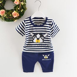 Cotton Print Material NZ - 2019 Summer New Fashion Baby Boys Clothes Infant Cotton Material With Striped Cartoon puppy Print Short-sleeved Clothing Sets