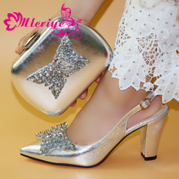 $enCountryForm.capitalKeyWord Australia - Latest Design Sandals Women Sexy 2019 Nigerian Women Wedding Shoes and Bag Set Decorated with Rhinestone Party Pumps in Silver