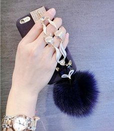 $enCountryForm.capitalKeyWord NZ - For iphone 7 6s plus Fashion Diamond Bling Rabbit Fur Hair Fox Head Protective Cover For iphone7 7plus Keychains