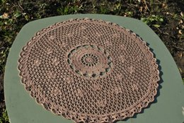 Discount hand crocheted tablecloths - 1PCS Handmade crochet doily Hand crochet doily, size 16.9 inches (43 cm), Tablecloth wedinng centerpiece, round doilies,