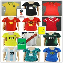 e5bbd5c3a 2018 World Cup Women Soccer Jersey Spain Russia Belgium Colombia Brasil Mexico  Argentina Japan Girls Ladies Custom Football Shirt
