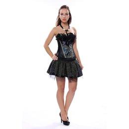 China Black Embroidery Peacock Princess Corset Dress Feather Burlesque Overbust Corsets Bustiers Top bodyshaper Plus Size S-6XL Women supplier black feather corset dress suppliers