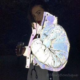 Wholesale women s reflective jacket resale online – Liva Parka Women Hot Reflective Winter Coat Women Fashion Zipper Up Winter Jackets abrigos mujer invierno