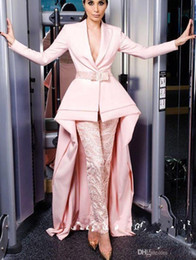 $enCountryForm.capitalKeyWord Australia - 2019 New Design Pink Long Sleeve Jumpsuits Evening Dresses Deep V Neck With Sash Elegant Satin Guest Dress Prom Gowns
