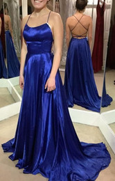 Satin Strings Australia - Scoop Neck Floor Length Royal Blue Prom Dresses with Tie String Back Long Evening Gowns Sexy