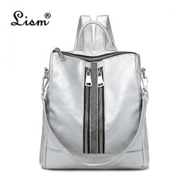 luxury backpacks women NZ - Women's Daypacks Silver New Zipper Women Backpack Travel Stripe Small Backpacks Pu Leather Waterproof Totes Luxury Shoulder Bag Y19061102