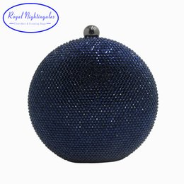$enCountryForm.capitalKeyWord Australia - Pink navy Round Hard Case Crystal Box Clutch Bag Evening Bags For Womens Party Prom Wedding And Matching Shoes And Even Dress Y190627
