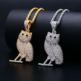 Owl Chain Australia - hip hop Owl diamonds pendant necklaces for men luxury animal necklace jewelry real gold plated copper zircons golden Cuban chain 2 colors