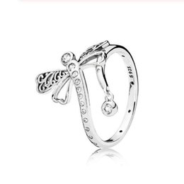 pandora dragonfly UK - Authentic 925 pure silver disc ring dream dragonfly ring female engagement wedding ring gift exquisite European jewelry Pandora 52cm