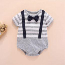 $enCountryForm.capitalKeyWord Australia - Designs INS Toddler Baby Boys Gentalman Rompers Summer Cotton Short Sleeve Bow Tie Party Jumpsuits Round-neck Newborn Bodysuits 0-12M