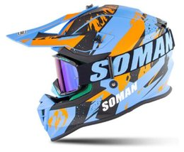 face protection helmet Australia - Motocross helmet with glasses, off-road bicycle helmet, long wing full face protection helmet