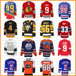 Hull jersey online shopping - top Wayne Gretzky Mario Lemieux Bobby Hull Hockey Jersey Gordie Howe Bobby Orr Patrick Roy Eric Lindros Leetch Messier