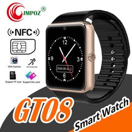 $enCountryForm.capitalKeyWord Australia - GT08 Bluetooth Smart Watch With SIM Card Slot NFC Health Watchs For Android Samsung and IOS Apple Iphone Smartphone Cradle Design
