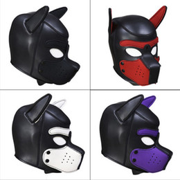 $enCountryForm.capitalKeyWord NZ - Brand New Fashion Padded Latex Rubber Role Play Dog Mask Puppy Cosplay Full Face with Ears 4 Color Halloween Party Masks