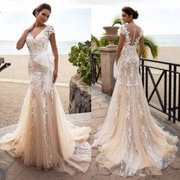 $enCountryForm.capitalKeyWord Australia - Champange Lace Mermaid Wedding Dresses 2019 Vestidos de novia Sheer Backless With Buttons V Neck Cap Sleeve Appliqued Bridal Gowns