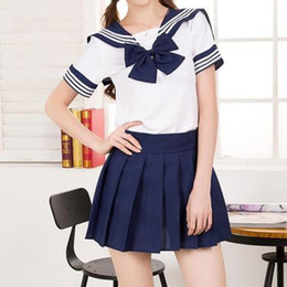 women suits pleated skirts NZ - Japanese Korean Version JK Suit Woman School Uniform High School Sailor Navy Cosplay Costumes Student Girls Pleated Skirt SH190908