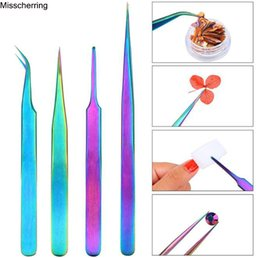 $enCountryForm.capitalKeyWord Australia - 1pc Curved Straight Tweezers Rainbow Eyelash Extension Nails Decor Picker Dead Skin Remover Manicure Makeup Nail Art Tools