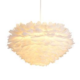 $enCountryForm.capitalKeyWord UK - White feather lamp bedroom dining room children room chandelier creative personality Nordic warm chandelier