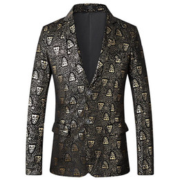 Golden tuxedo online shopping - Tuxedos Stage Mens Suits Golden Tiger Print Business Casual Men s Blazer Jacket Fashion Wedding Suits For Men Slim Fit