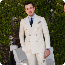 $enCountryForm.capitalKeyWord NZ - Summer Beach Casual Linen Man Suits for Wedding Groom Tuxedo Double Breasted Peaked Lapel Man Blazer Suit 2Piece Custom Made Costume Homme