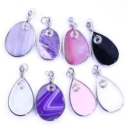 natural agate gemstone pendants Australia - Natural Stone Gemstone Strip Teardrops Edge Agate Stone Pendant For Natural Stone Necklace XULIN LGMAG -002