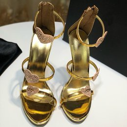 Wholesale New fashion shoe female designer high heel sandal leather material original heel height cm size