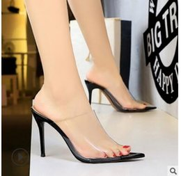 super sexy sandals heel 2019 - Big tree fashion sexy thin transparent hollow women's sandals, high heel sandals, pointed head fish mouth women