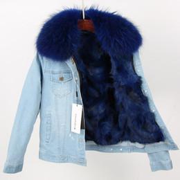 Wholesale fox fur trimmed coat resale online - 2019 new designer blue raccoon fur trim Cold resistant women blue fox fur lining mini light blue denim coat