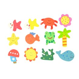 magnets wooden animals NZ - 12pcs set Cute Cartoon Animal Fridge Magnets Wooden Car Whiteboard Sticker Refrigerator Magnets For Home Decor Kids Gifts