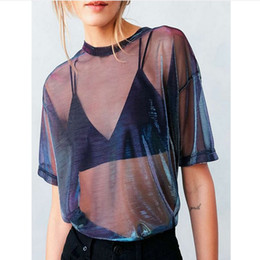 Discount tee shirt transparent - 2019 Hot Women Summer Mesh Sheer Punk T- Shirt Holographic Short Sleeve Transparent Shiny Club Tee Shirt