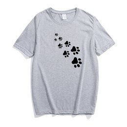 White Cat Paws Australia - Cat paw print black and white cartoon interesting large size T-shirt pure cotton European and American style simple street windbreaker woman