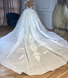 Beaded wedding gown detachaBle train online shopping - Luxury Arabic Dubai Mermaid Wedding Dresses With Detachable Overskirts Sheer Neck Beaded Long Sleeve Bling Long Train Lace Bridal Gowns