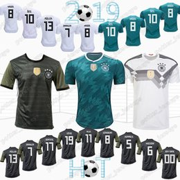 64d284884 HOT 13 MULLER Germany Soccer Shirt 10 OZIL 2018 World Cup Germany Away  Green Soccer Jersey 8 KROOS 5 HUMMELS 17 BOATEN Football Uniforms