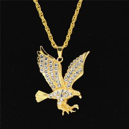 eagle alloys NZ - Rhinestone Eagle Pendant Necklace For Men Hip Hop Long Big Drop Necklaces Geometric Fashion Alloy Gold Plated Jewelry Accessories Wholesale