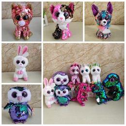 Ty big eye Toys online shopping - Sequin Ty Beanie Boos Stuffed Dolls Big Eyes Unicorn Plush Toy Owl Plush Animals Kids Stuffed Flamingo Dolls Party Favor CCA11274