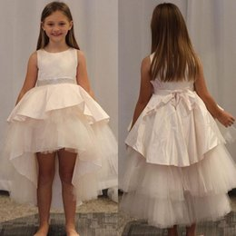 gold satin sashes for wedding dresses NZ - Simple Satin Tulle Flower Girls Dresses For Wedding Jewel Neck Sleeveless High Low Beading Girls Pageant Dresses With Sash
