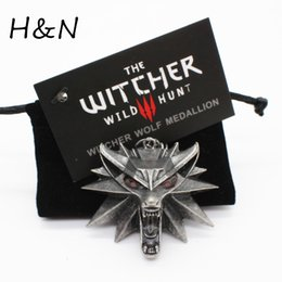 wizard figure Australia - Top quality the Witcher pendant 2016 collier medallion wizard wolf wild hunt 3 Figure Game necklace + witcher 3 wolf necklace