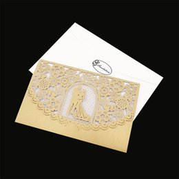 $enCountryForm.capitalKeyWord NZ - 10Pcs Delicate Carved Romantic Wedding Party Supplies Decor Luxury Invitation Card Envelope Elegant Wedding Greeting Cards