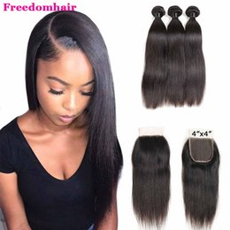 $enCountryForm.capitalKeyWord Australia - Peruvian Lace Closure Straight Brazilian Virgin Hair Bundle With 4x4 Top Lace Closure Cheap Remy Hair Wefts And Free Part Lace Closure