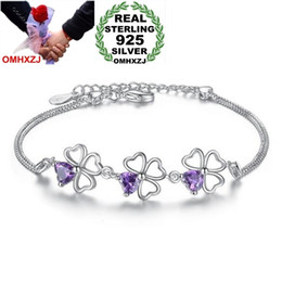 Silver Bangle Bracelet For Girls Australia - OMHXZJ Wholesale Romantic Fashion Sweet For Woman Girl Party Gift Purple Leaves Zircon 925 Sterling Silver Bracelet Bangle SZ110