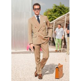 Men S Brown Suits Australia - New Arrival Brown Double Breasted Classic Men Suit Skinny Summer Simple Tuxedo Custom 2 Piece Wedding Suits (jacket+pants)L642