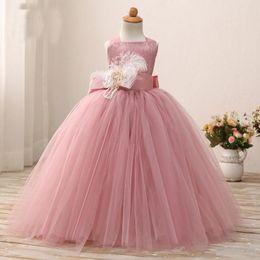 Purple Tutu For Little Girl Australia - Dusty Pink Flower Girl Dress Ball Gowns Floor Length Soft Tulle Girl Tutu Gowns for Wedding Party Birthday Little Baby Pageant Dresses