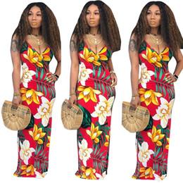 $enCountryForm.capitalKeyWord NZ - Women Deep V Neck Sling Dress Flora Print Spaghetti Bodycon Dresses Bohemian Slim Dresses Sexy Backless Maxi Dresses Beach Long Skirt C51407
