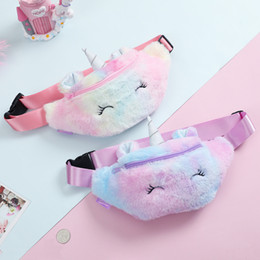 Wholesale Kid Unicorn Stuffed Pencil Waist Bag Belt Fanny Pack Beach Bag Student Teenager Purses Sports Unisex Gym Outdoor Cosmetic Bags